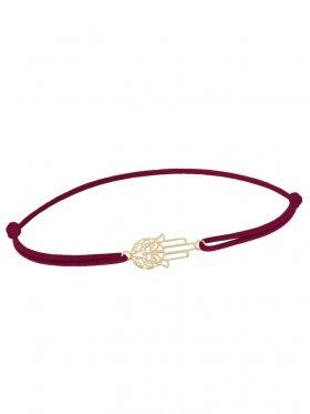 Symbolarmband Fatimas Hand mini an Elastikband, weinrot, Silber vergoldet