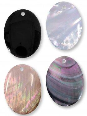 Perlmutt, Steinscheibe oval 40 x 30 mm, verschiedene Farben, VE 1 St. - weiß