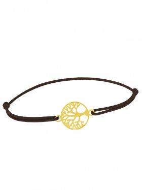 Symbolarmband Baum des Lebens mini an Elastikband, dunkelbraun, 925 Silber verg.