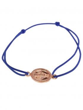 Symbolarmband Madonna an Elastikband in dunkelblau, 925 Silber, rosévergoldet