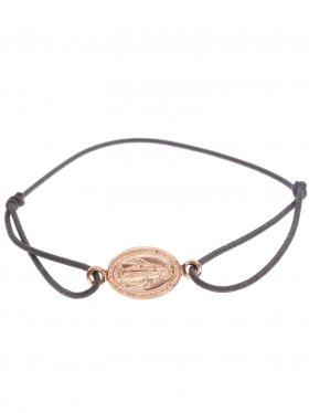 Symbolarmband Madonna an Elastikband in dunkelgrau, 925 Silber, rosévergoldet