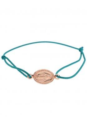 Symbolarmband Madonna an Elastikband in petrol, 925 Silber, rosévergoldet