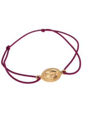 Symbolarmband Madonna an Elastikband in weinrot, Silber rosévergoldet