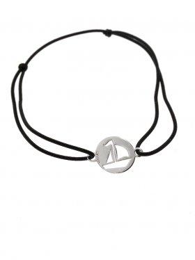 Symbolarmband Segelboot mini an Elastikband in schwarz, Silber rhodiniert