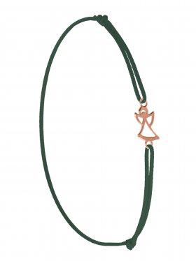 Symbolarmband Engel mini an Elastikband, dunkelgrün, Silber rosévergoldet