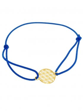 Symbolarmband Blume des Lebens auf Elastikband - DBL - dunkelblau-Silber vergoldet