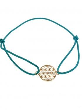Symbolarmband Blume des Lebens auf Elastikband - P - petrol - Silber vergoldet