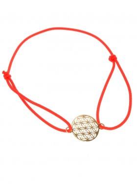 Symbolarmband Blume des Lebens auf buntem Elastikband -R - rot-Silber vergoldet
