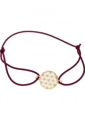 Symbolarmband Blume des Lebens auf buntem Elastikband -WR - weinrot-Silber vergoldet