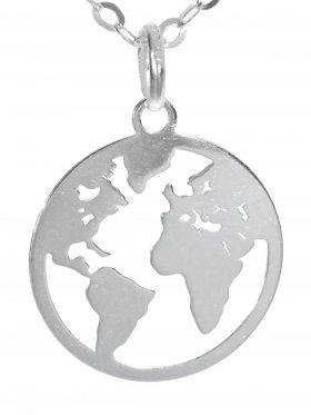 Weltkugel (ø 15) inkl. Ankerkette L 38 cm, 925 Silber