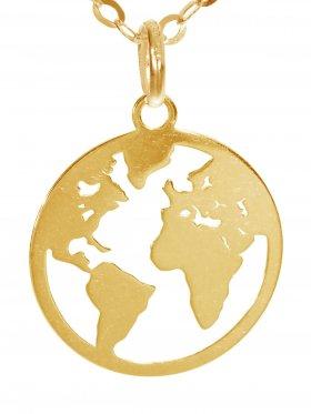 Weltkugel (ø 15) inkl. Ankerkette L 38 cm, 925 Silber vergoldet