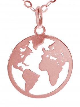 Weltkugel (ø 15) inkl. Ankerkette L 38 cm, 925 Silber rosévergoldet