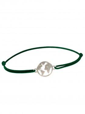 Symbolarmband Weltkugel mini an Elastikband, dunkelgrün, Silber rhodiniert