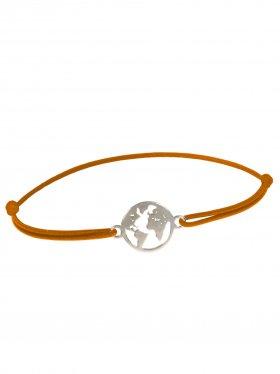 Symbolarmband Weltkugel mini an Elastikband, hellbraun, Silber rhodiniert