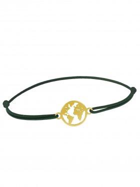 Symbolarmband Weltkugel mini an Elastikband, dunkelgrün, Silber vergoldet