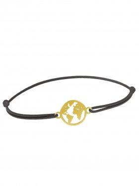 Symbolarmband Weltkugel mini an Elastikband, dunkelgrau, Silber vergoldet