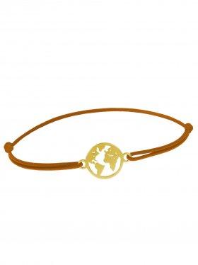 Symbolarmband Weltkugel mini an Elastikband, hellbraun, Silber vergoldet