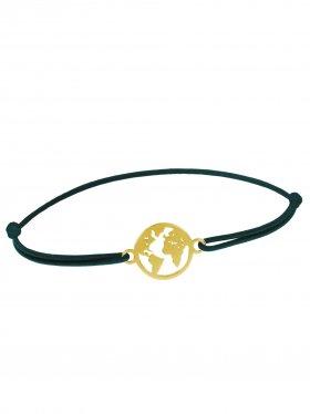 Symbolarmband Weltkugel mini an Elastikband, marineblau, Silber vergoldet