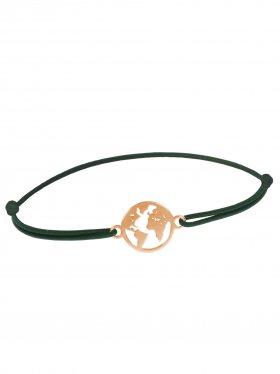 Symbolarmband Weltkugel mini an Elastikband, dunkelgrün, Silber rosévergoldet