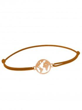 Symbolarmband Weltkugel mini an Elastikband, hellbraun, Silber rosévergoldet
