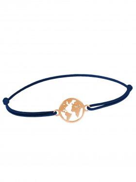 Symbolarmband Weltkugel mini an Elastikband, marineblau, Silber rosévergoldet