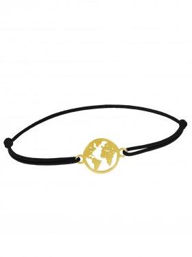Symbolarmband Weltkugel mini an Elastikband, schwarz, Silber vergoldet