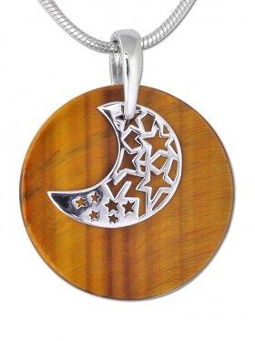 Anhänger Mond, Silber auf Steinscheibe, versch. Steinarten