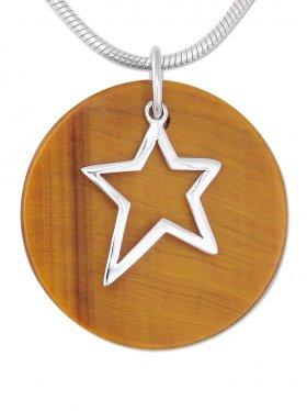 Anhänger Stern, Silber auf Steinscheibe, versch. Steinarten