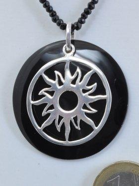 Symol Sonne, 925 Silber, auf Perlmutt schwarz
