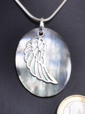Symbol Engelsflügel, 925 Silber, auf Perlmutt grau