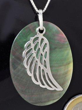 Symbol Engelsflügel, 925 Silber, auf Perlmutt rainbow