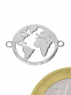 Weltkugel (12 mm), Element mit zwei Ösen, 925 Silber rhodiniert, 1 Stück