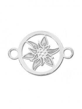 Edelweiss mini (10 mm) mit zwei Ösen, 925 Silber (3 St.)