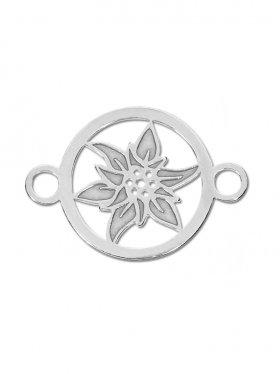 Edelweiss mini (10 mm) mit 2 Ösen, 925 Silber (3 St.)