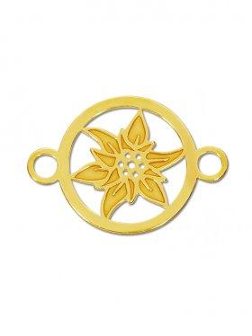 Edelweiss mini (10 mm) mit zwei Ösen, 925 Silber vergoldet (3 St.)