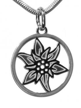 Edelweiss Anhänger small (15 mm) mit Öse, 925 Silber rhodiniert