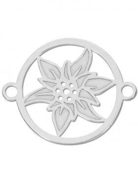 Edelweiss small (15 mm) mit zwei Ösen, 925 Silber rhodiniert (3 St.)