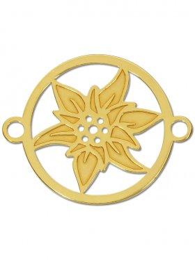 Edelweiss small (15 mm) mit zwei Ösen, 925 Silber vergoldet (3 St.)