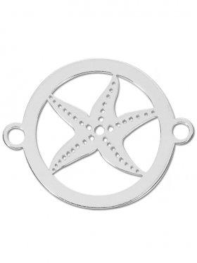 Seestern small (15 mm) mit zwei Ösen, 925 Silber rhodiniert (3 St.)