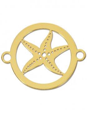 Seestern small (15 mm) mit zwei Ösen, 925 Silber vergoldet (3 St.)