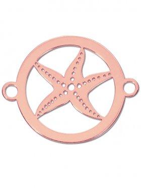 Seestern small (15 mm) mit 2 Ösen, 925 Silber (rhodiniert, vergoldet, rosévergoldet)