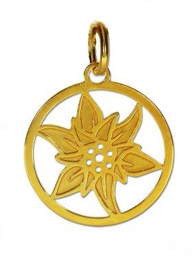 Edelweiss Anhänger small (15 mm) mit Öse, 925 Silber vergoldet