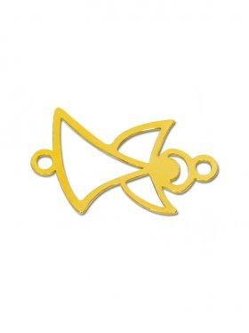 Engel mini (10 mm) zwei Ösen, 925 Silber vergoldet (3 St.)