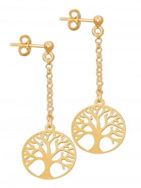 Baum des Lebens, Ohrstecker, 925 Silber vergoldet