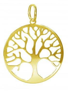 Baum des Lebens, large, Anhänger mit Öse, 925 Silber vergoldet