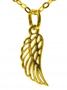 Flügel (small ø 15 mm) mit Ankerkette Länge 38 cm, 925 Silber vergoldet