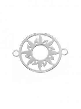 Sonne Element mini (10 mm) mit zwei Ösen, 925 Silber (rhodiniert, vergoldet, rosévergoldet), 3 St.
