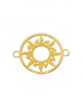 Sonne Element mini (10 mm) mit zwei Ösen, 925 Silber vergoldet (3 St.)