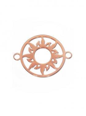 Sonne Element mini (10 mm) mit zwei Ösen, 925 Silber rosévergoldet (3 St.)