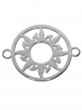 Sonne Element small (15 mm) mit zwei Ösen, 925 Silber rhodiniert (3 St.)